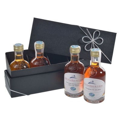 Geschenkset-Cognac-100ml-Kleinflaschen-Armagnac-Calvados-Brandy