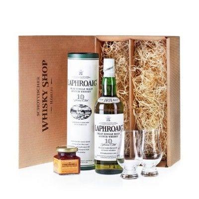 Laphroaig-10-Whisky-geniesser-set-Geschenkidee-mit-Nosing-Glaesern-und-Erdbeermarmelade