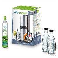 SodaStream-Wassersprudler-Crystal-Alu-Zylinder-60-Liter-Glaskaraffe-titan-schwarz-set
