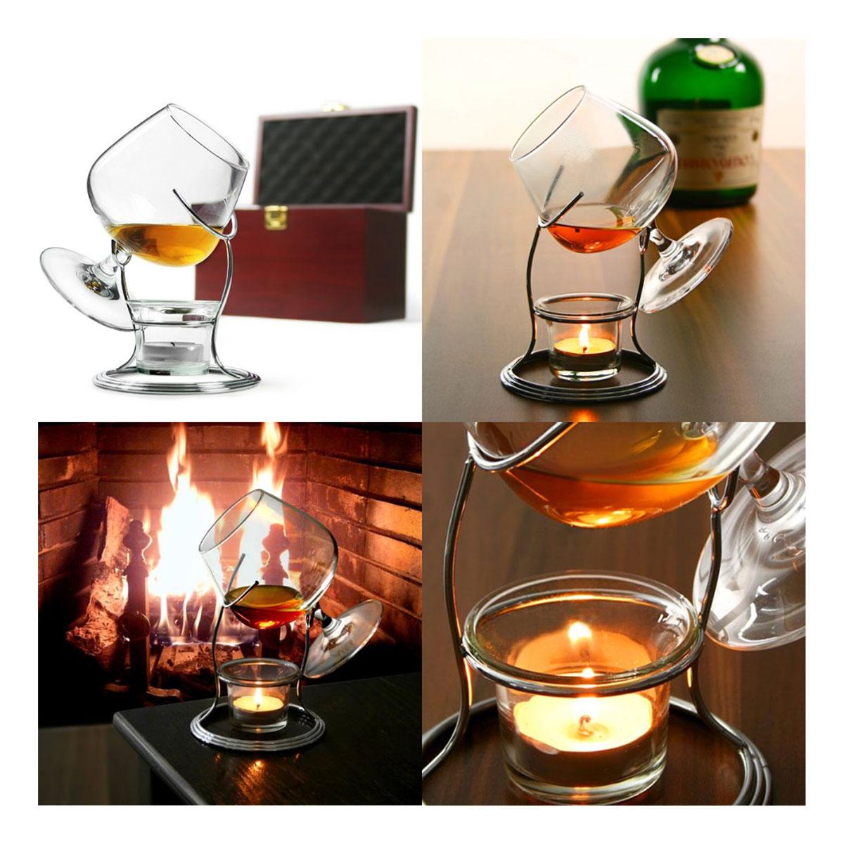 cocktail gl ser cognac brandy w rmer teelicht mit schwenker glas im set. Black Bedroom Furniture Sets. Home Design Ideas